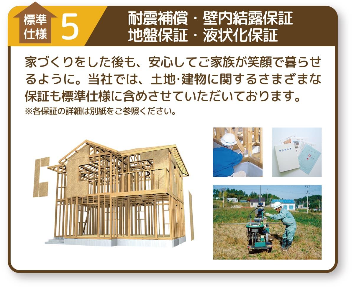 標準仕様1|耐震保証・壁内結露保証・地盤保証・液状化保証
